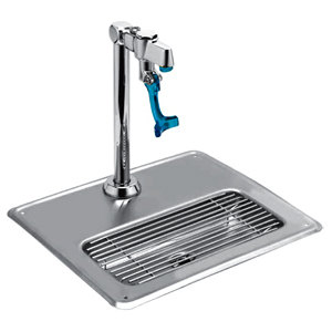 T&S 5GF-8P-WS Water Station with Drip Pan and Push Back Glass Filler - 9 3/8 inch High Pedestal
