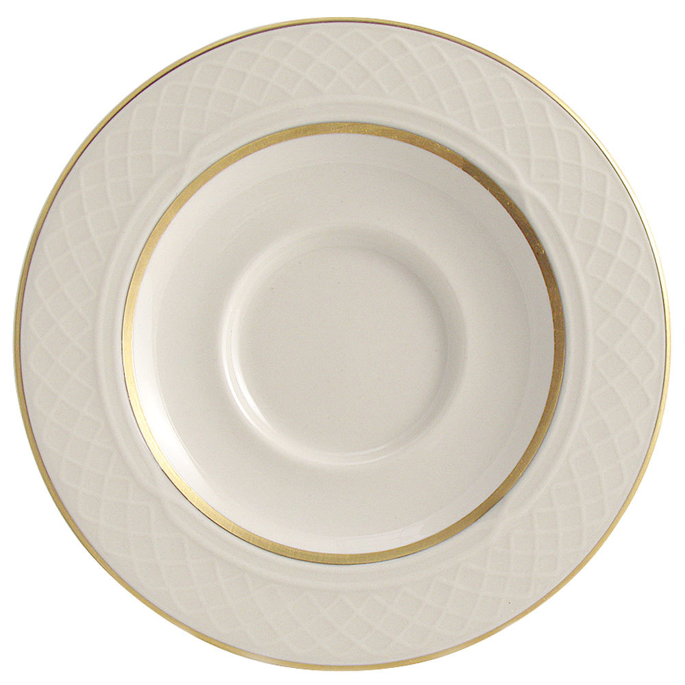 "Homer Laughlin 1420-0355 Westminster Gothic 5 5/8"" China Saucer - Off White 36 / Case"