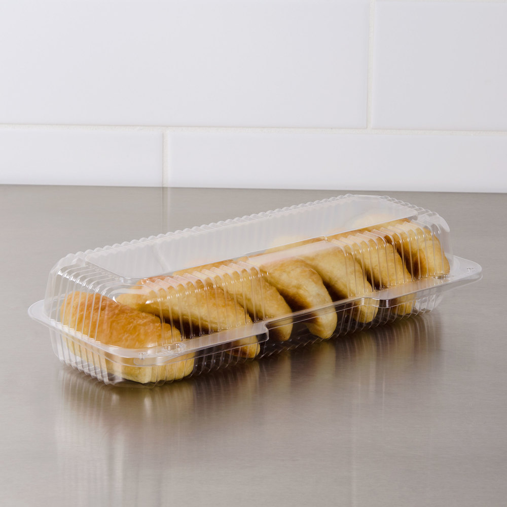 "Dart Solo PET90UT1 StayLock 13 3/8"" x 6 3/4"" x 2 5/8"" Clear Hinged PET Plastic 13"" Strudel Container - 200/Case"