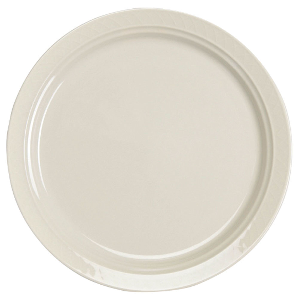 "Homer Laughlin 7000-0344 Gothic 6 1/4"" American White (Ivory / Eggshell) Undecorated Narrow Rim Plate - 36/Case"