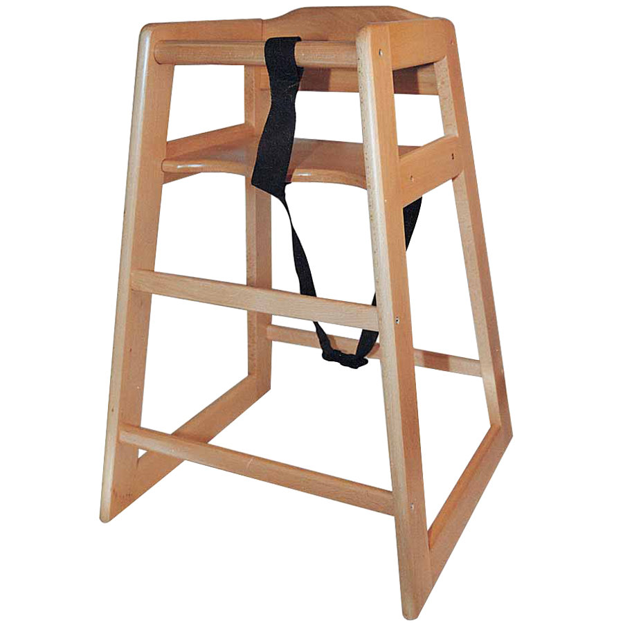 Stacking Assembled Restaurant Hardwood High Chair with Natural Finish
