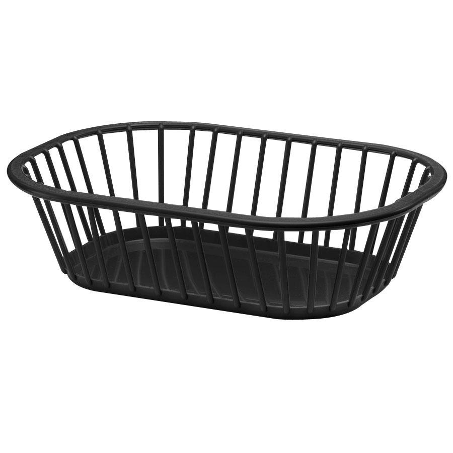 "Tablecraft 1088BK Black 10"" x 7"" x 3"" Spoke Plastic Fast Food Basket 12 / Pack"