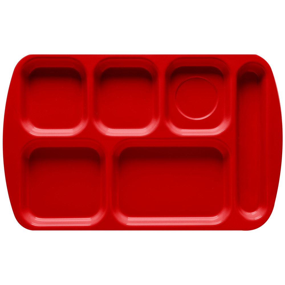 "GET TR-151 Red Melamine 10"" x 15 1/2"" Right Hand 6 Compartment Tray - 12/Pack"