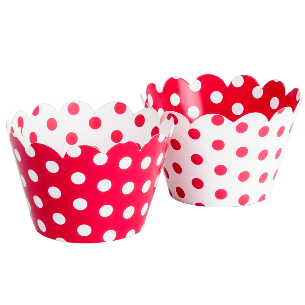 Hoffmaster 611130 Red / White Reversible Cupcake Wrappers 250 / Case
