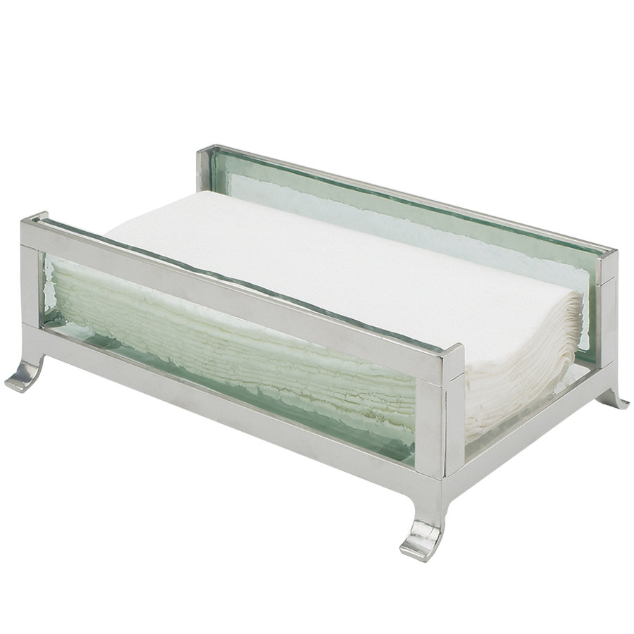"Cal-Mil 1595-43 Soho Silver Napkin Holder with Faux Glass Sides - 9 1/2"" x 6 1/4"" x 3 1/2"""