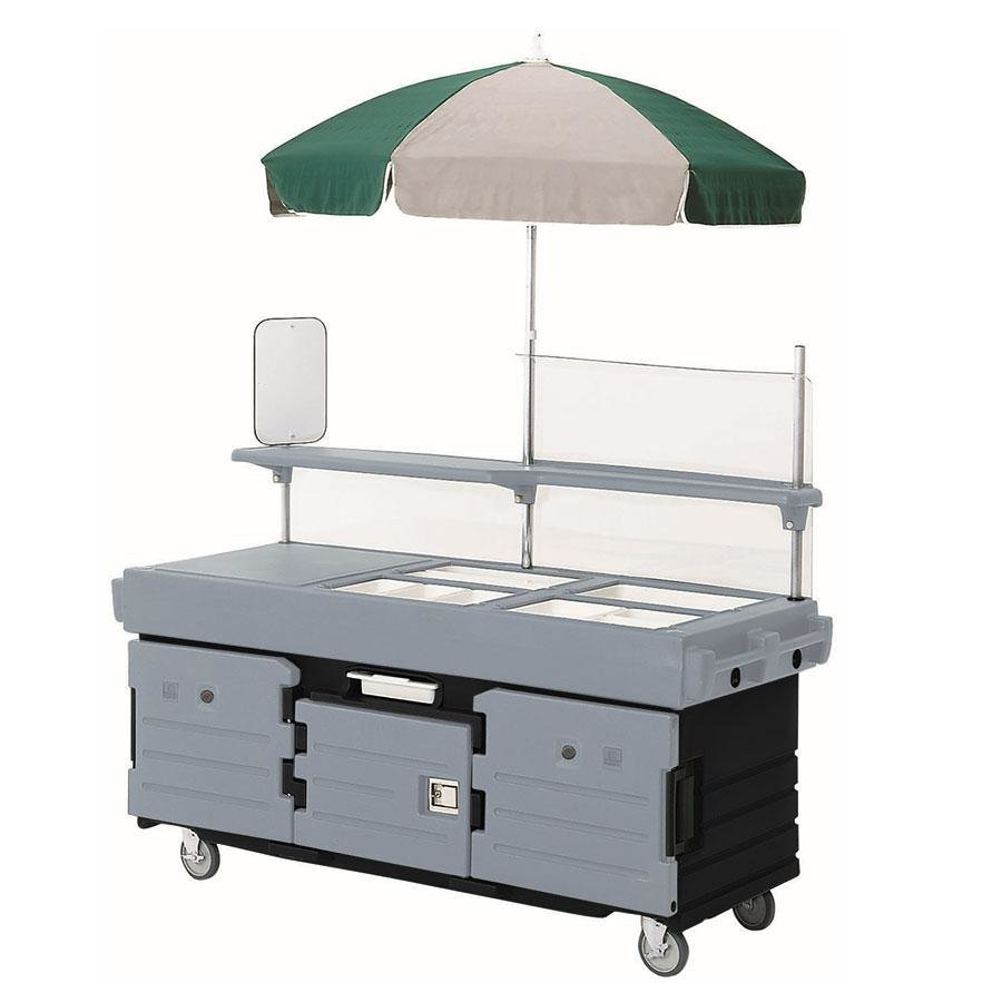 Cambro CamKiosk KVC854U426 Black Base with Granite Gray Door Vending Cart with 4 Pan Wells and Umbrella