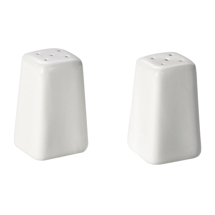 Tablecraft 168 China 2 oz. Square Salt and Pepper Shakers - 6 Sets / Case