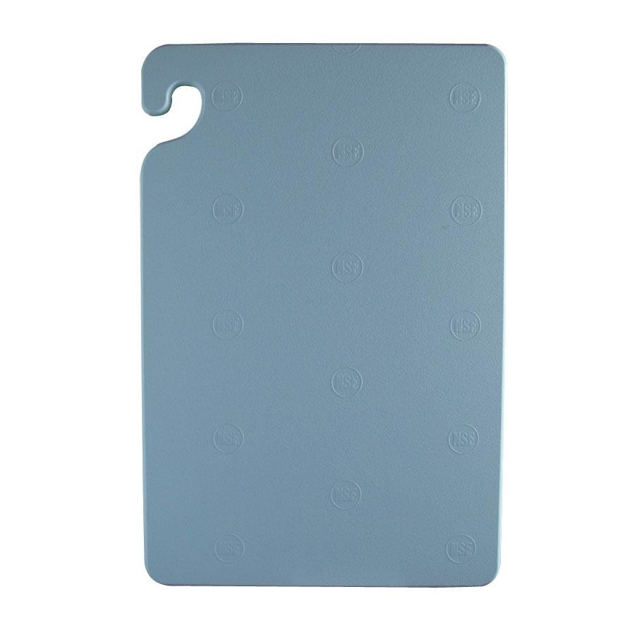 San Jamar CB182412BL Blue 18 inch x 24 inch x 1/2 inch Cut-N-Carry Cutting Board with Hook