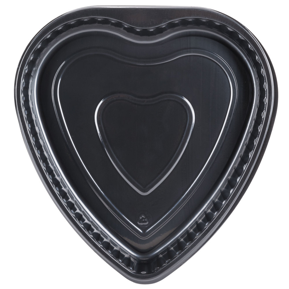 "Genpak 55H09 Bake 'N Show Dual Ovenable 9"" x 1 3/8"" Heart Shape Black Cake Pan - 200/Case"