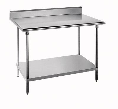 "Advance Tabco 16 Gauge Advance Tabco KMS-304 30"" x 48"" Stainless Steel Commercial Worktable with 5"" Backsplash and Undershelf at Sears.com"