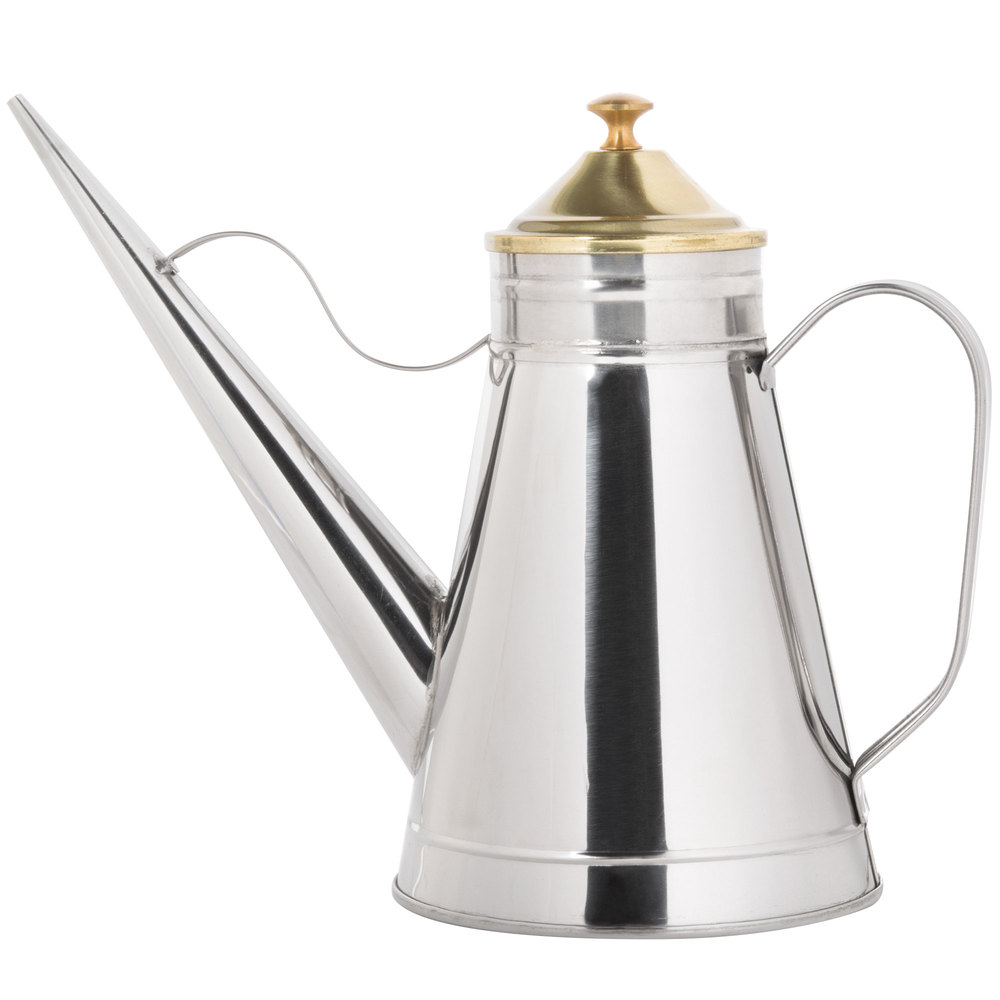 24 Oz Oil Can Cruet With Brass Knob And Cover