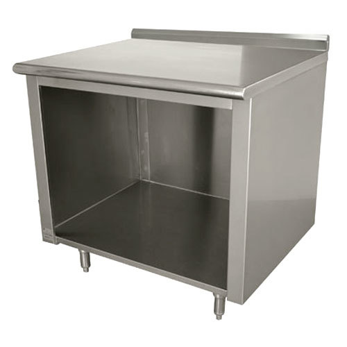"Advance Tabco EF-SS-303 30"" x 36"" 14 Gauge Open Front Cabinet Base Work Table with 1 1/2"" Backsplash"