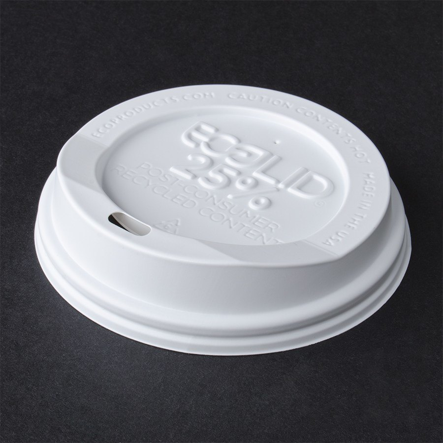 Eco-Products 10, 12, 16, and 20 oz. Recycled Content Hot Paper Cup Lid - White 100 / Pack