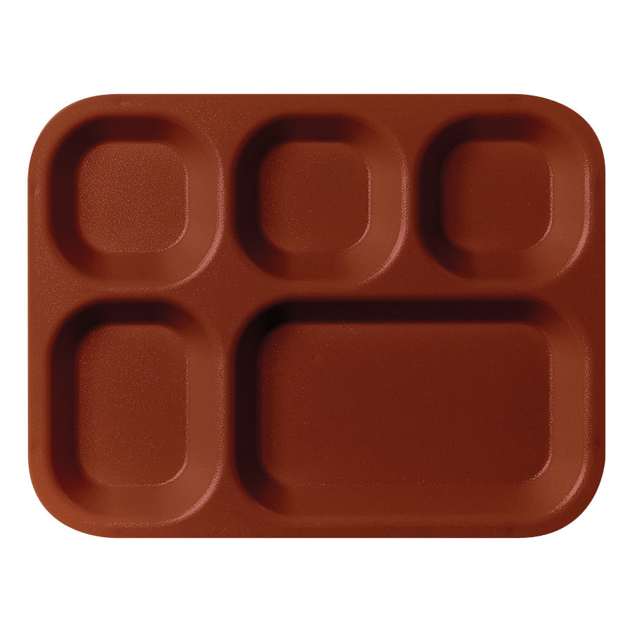 "Cambro 14105CP167 10 11/16"" x 13 7/8"" Brown 5 Compartment Serving Tray - 24/Case"