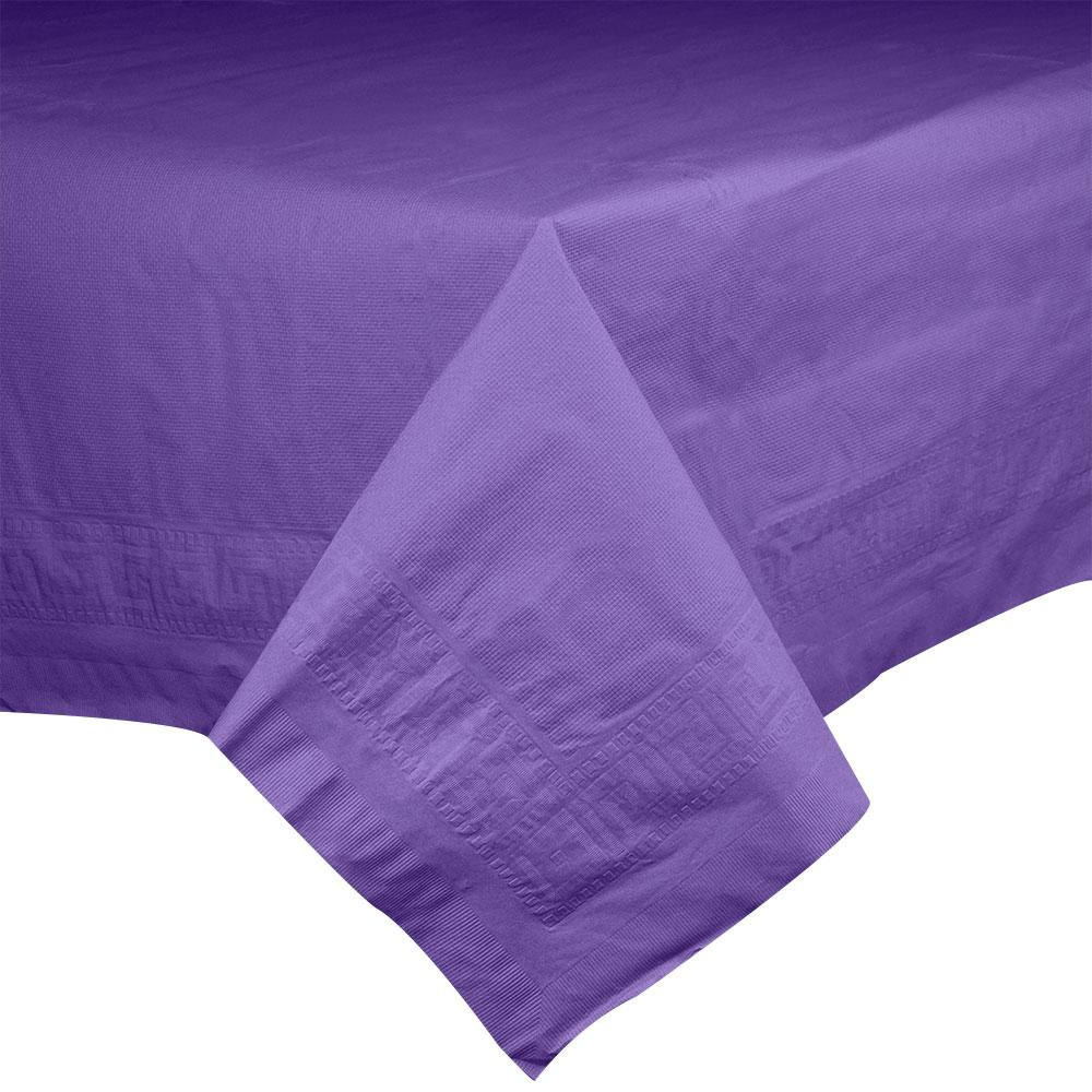 "Hoffmaster 220639 54"" x 108"" Cellutex Purple Tissue / Poly Paper Table Cover - 25/Case"