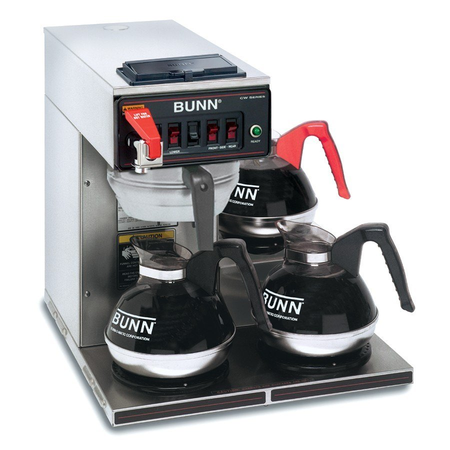 Bunn CWTF15-3 Automatic 12 Cup Coffee Brewer with 3 Lower Warmers - Stainless Steel Funnel 120V (Bunn 12950.0216)