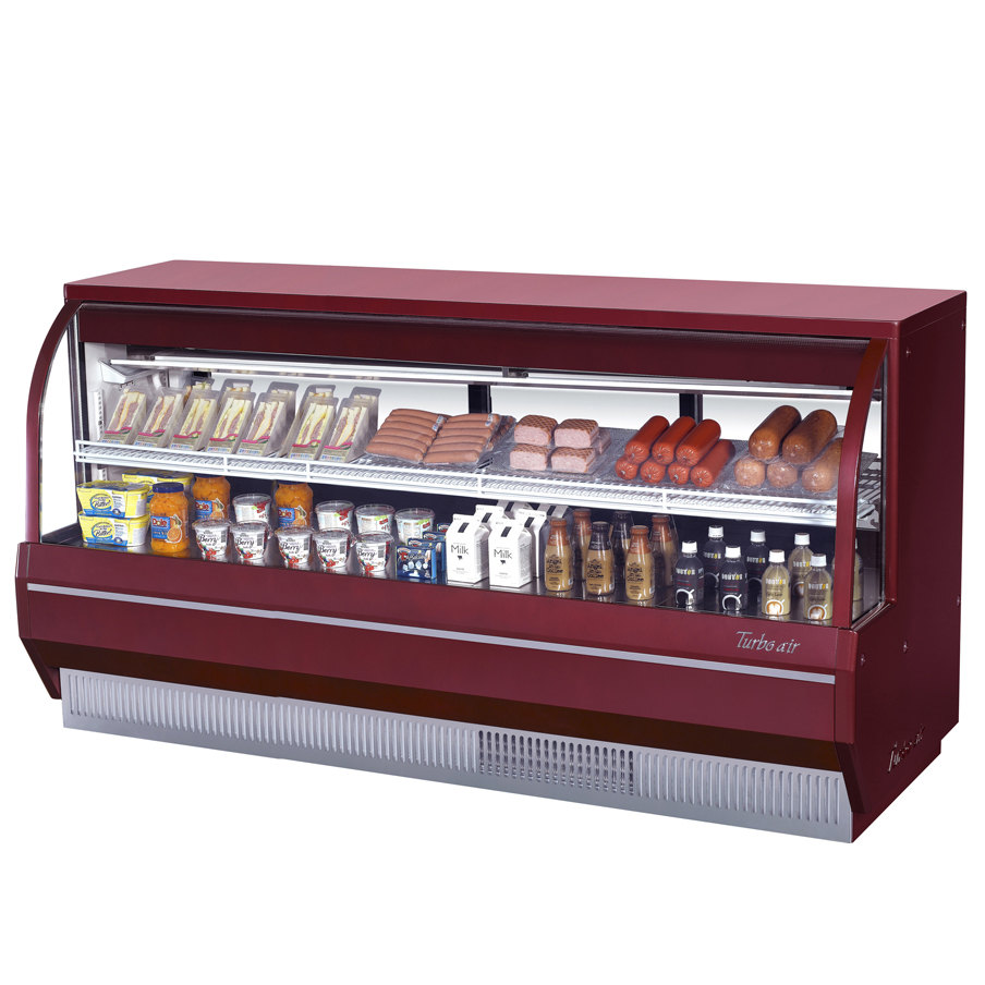 "Turbo Air TCDD-96-4-L Red 96"" Curved Glass Refrigerated Deli Case - 19.2 Cu. Ft."