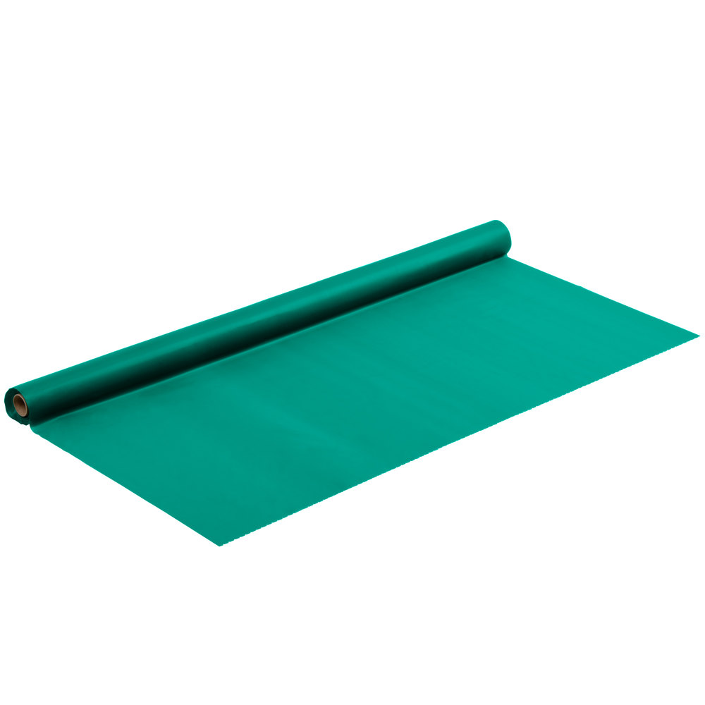 "Hunter Green 40"" x 100' Plastic Table Cover"