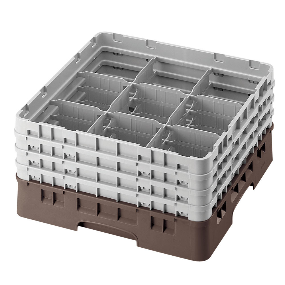 "Cambro 9S1114167 Brown Camrack 9 Compartment 11 3/4"" Glass Rack"