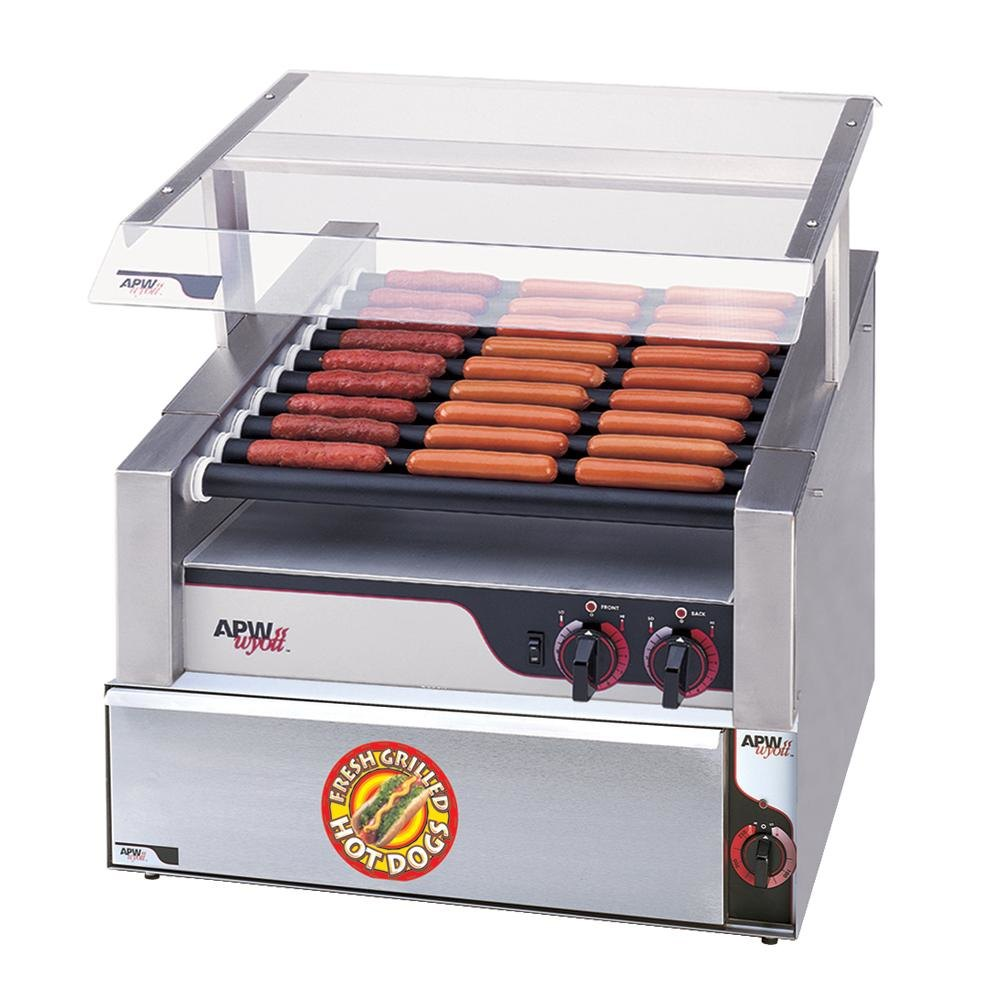 """APW Wyott HR-31BW 24"""" Hot Dog Roller Grill with Chrome Plated Rollers and Bun Warmer - 120V at Sears.com"""