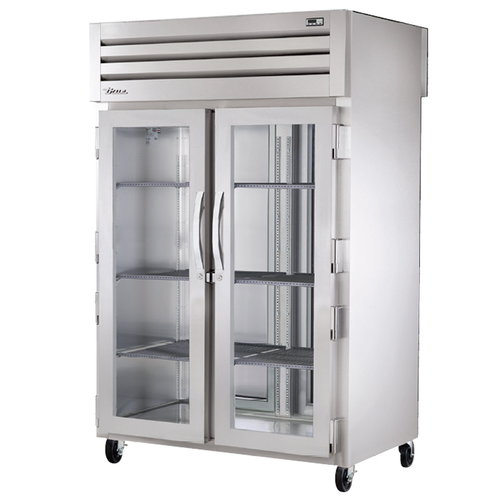 True STR2RPT-2G-2S Specification Series Two Section Pass-Through Refrigerator with Two Front Glass Doors and Two Rear Solid Doors - 56 Cu. Ft.