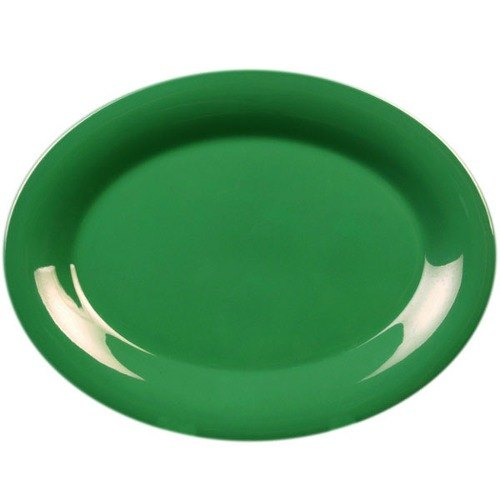 "12"" x 9"" Oval Green Platter - 12/Pack"