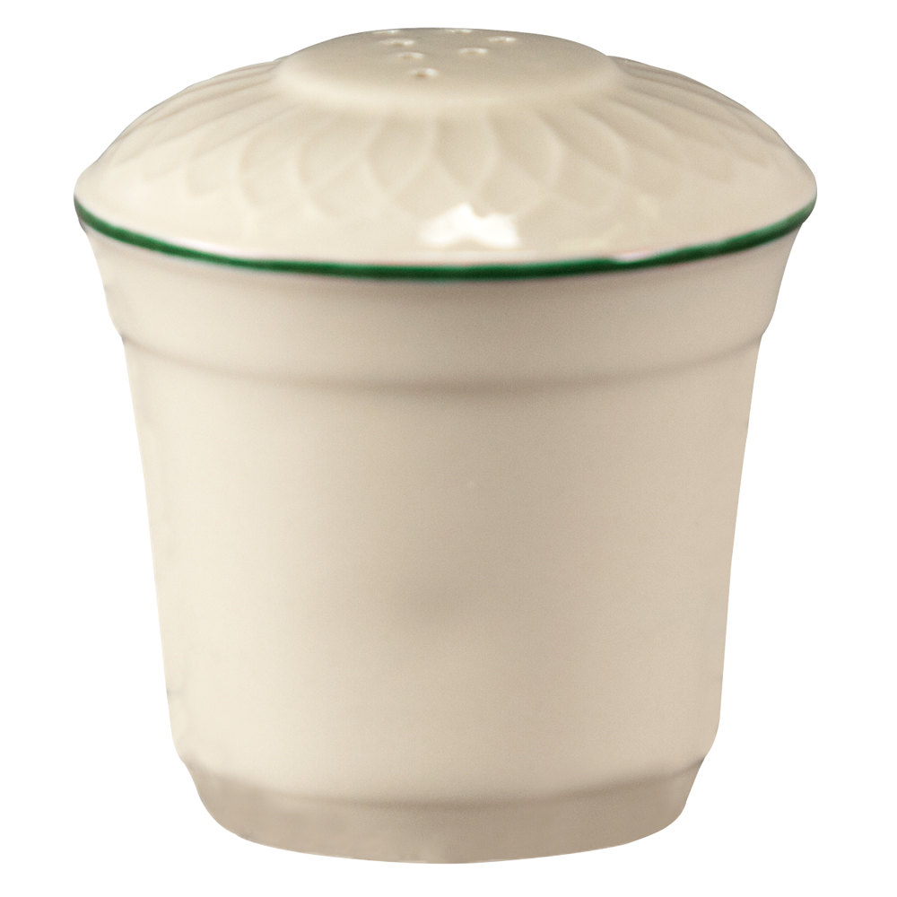 "Homer Laughlin 1430-0322 Green Jade Gothic 2 3/4"" China Pepper Shaker - Off White 36 / Case"