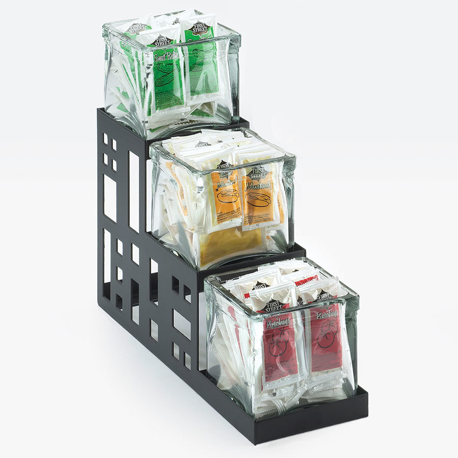 Cal Mil 1604-13 Squared Black 3-Jar Display – 4 inch x 12 inch x 7 1/4 inch