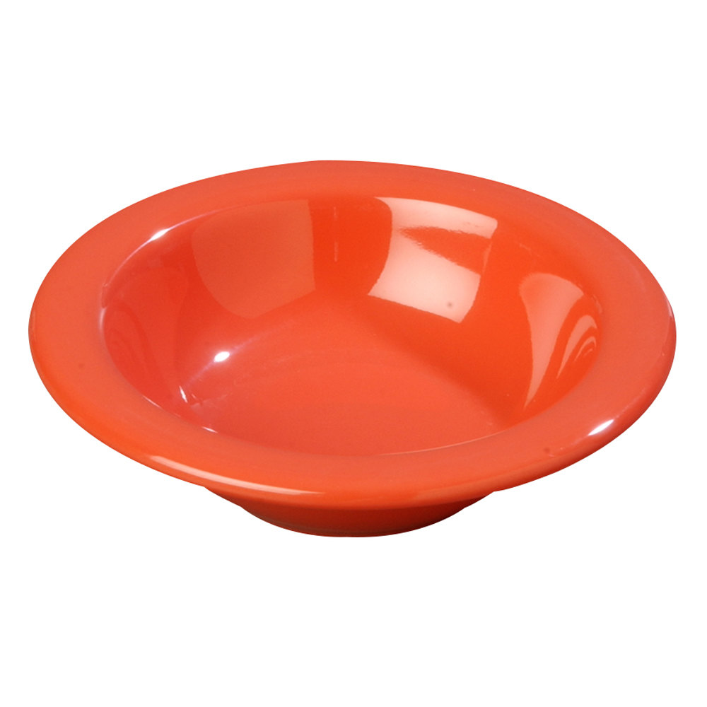 Carlisle 4304252 Durus 4 1/2 oz. Sunset Orange Rimmed Melamine Fruit / Monkey Dish - 48/Case