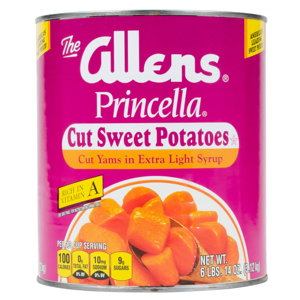Cut Sweet Potatoes in Light Syrup #10 Can - 6/Case