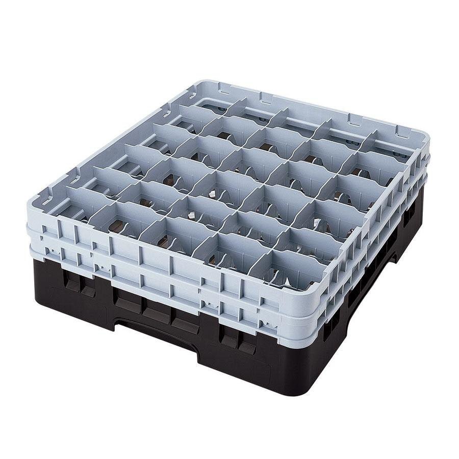 "Cambro 30S1114110 Black Camrack 30 Compartment 11 3/4"" Glass Rack"