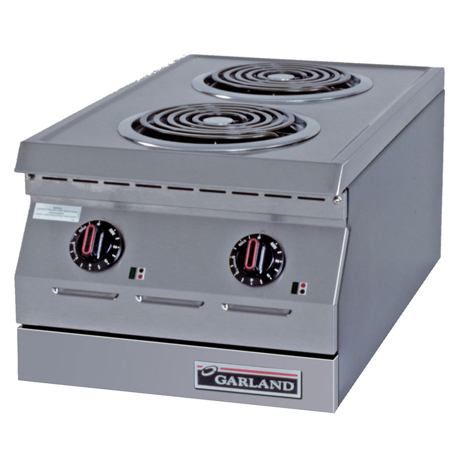 "Garland / US Range 240V Single Phase Garland ED-15H Designer Series 15"" Two Burner Electric Countertop Hot Plate - 7 1/2"" Open Elements at Sears.com"