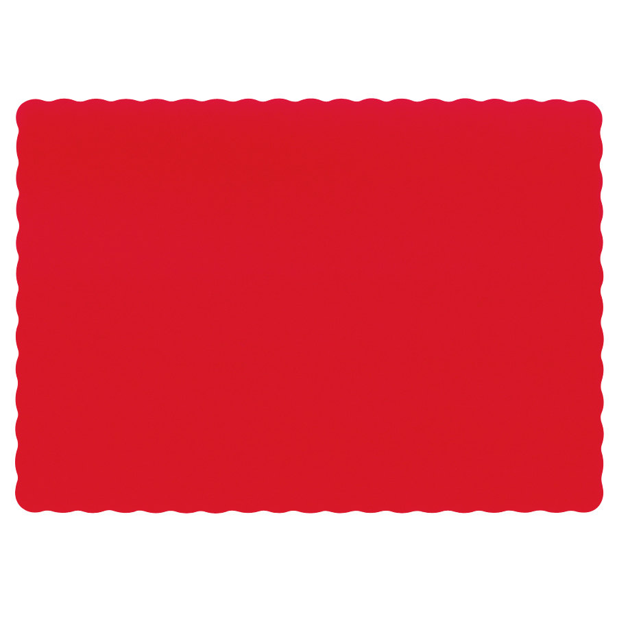 "Hoffmaster 310521 10"" x 14"" Red Colored Paper Placemat with Scalloped Edge - 1000/Case"