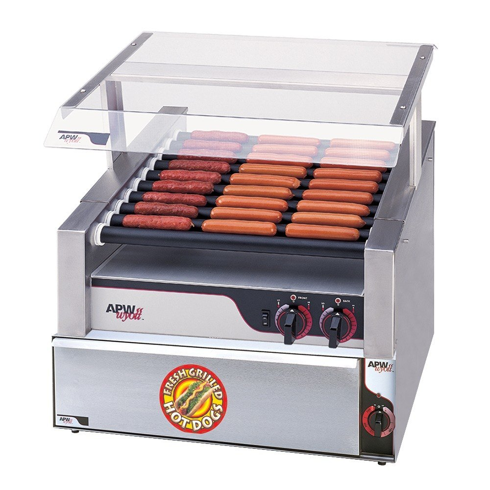 """APW Wyott HR-50SBW 35"""" Hot Dog Roller Grill with Slanted Chrome Plated Rollers and Bun Warmer - 120V at Sears.com"""
