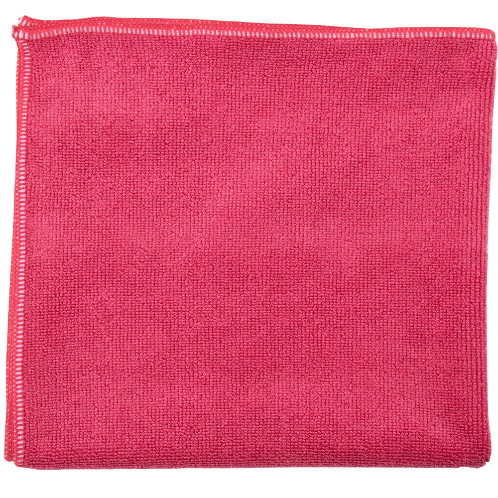 "Unger MF40R SmartColor MicroWipe 16"" x 15"" Red Heavy-Duty Microfiber Cleaning Cloth - 10/Pack"