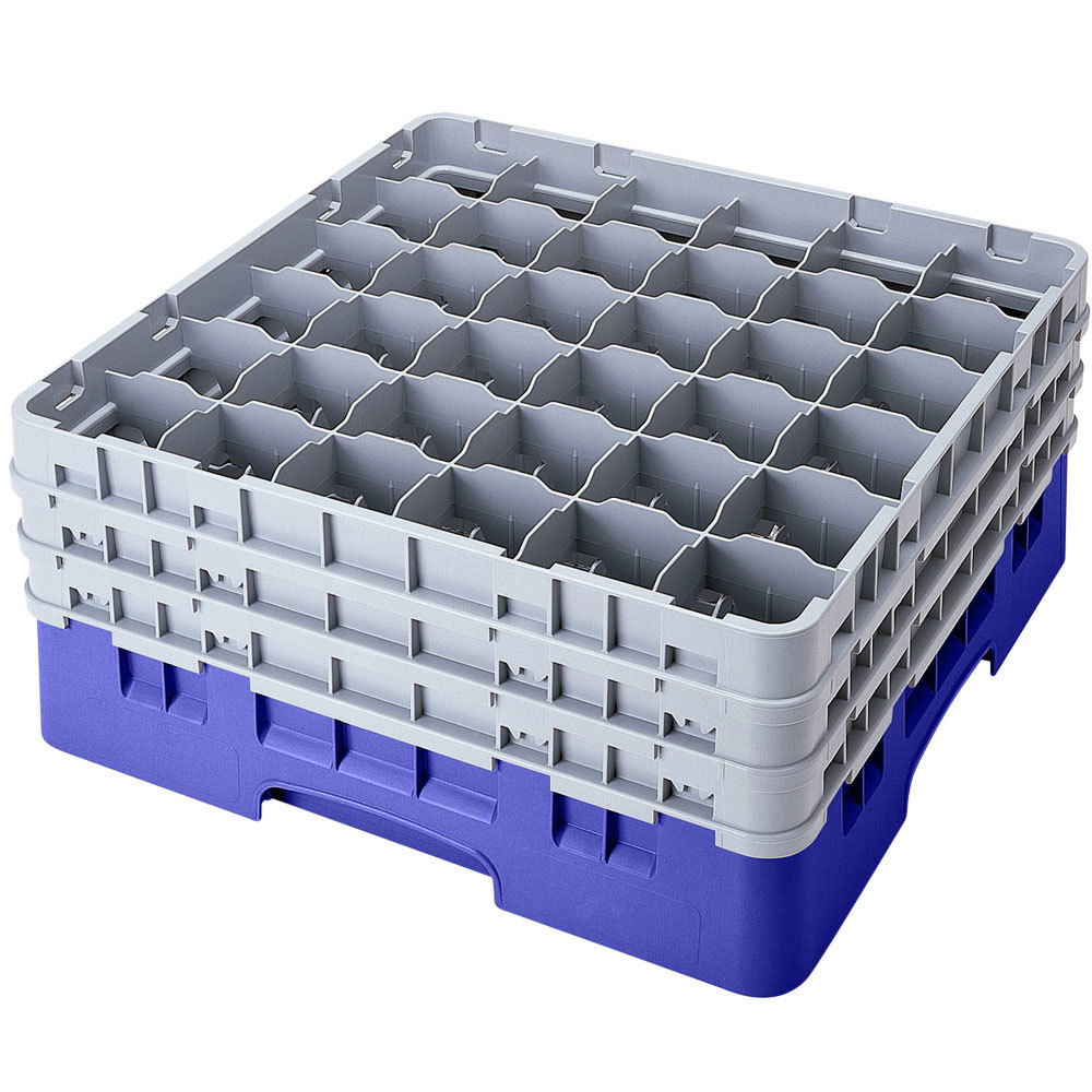 "Cambro 36S958168 Blue Camrack 36 Compartment 10 1/8"" Glass Rack"