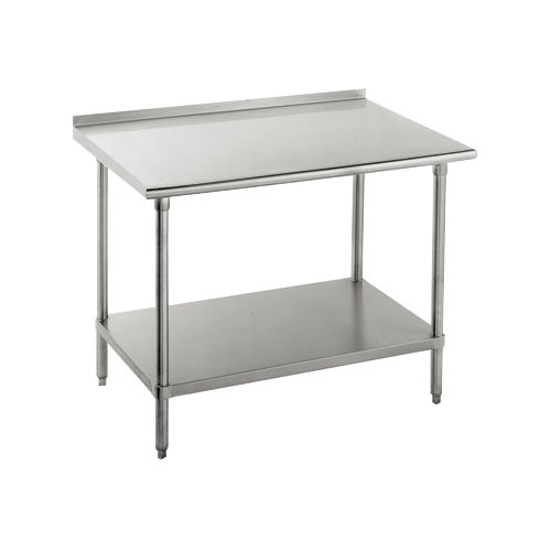 "16 Gauge Advance Tabco SFG-240 24"" x 30"" Stainless Steel Commercial Work Table with Undershelf and 1 1/2"" Backsplash"