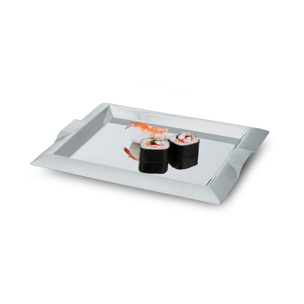 "Vollrath 82091 Square Stainless Steel Serving Tray with Handles - 15 3/4"" x 15 3/4"""
