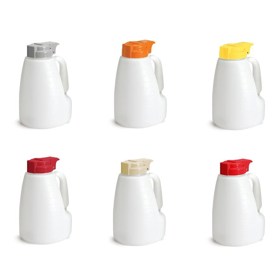 Tablecraft MW32A 32 oz. Option Dispensers with Assorted Tops - 6/Pack
