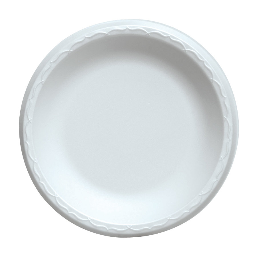 Dart 9PWQ 9 inch Laminated White Foam Plate 500 / Case