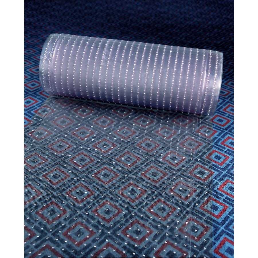 "Cactus Mat 3548R-4 Anchor-Runner 4' Wide Clear Vinyl Heavy-Duty Carpet Protection Runner Mat - 5/16"" Thick"