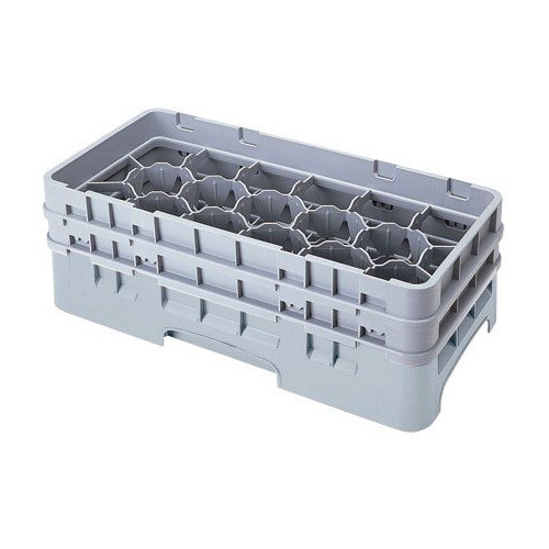 "Cambro 17HS318151 Camrack 3 5/8"" High Customizable Gray 17 Compartment Half Size Glass Rack"