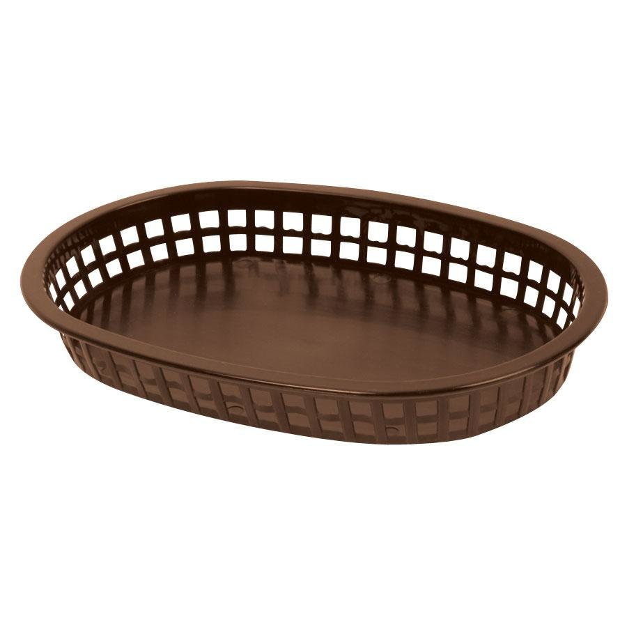 "10 3/4"" x 7"" x 1 1/2"" Brown Oval Plastic Fast Food Basket 12 / Pack"
