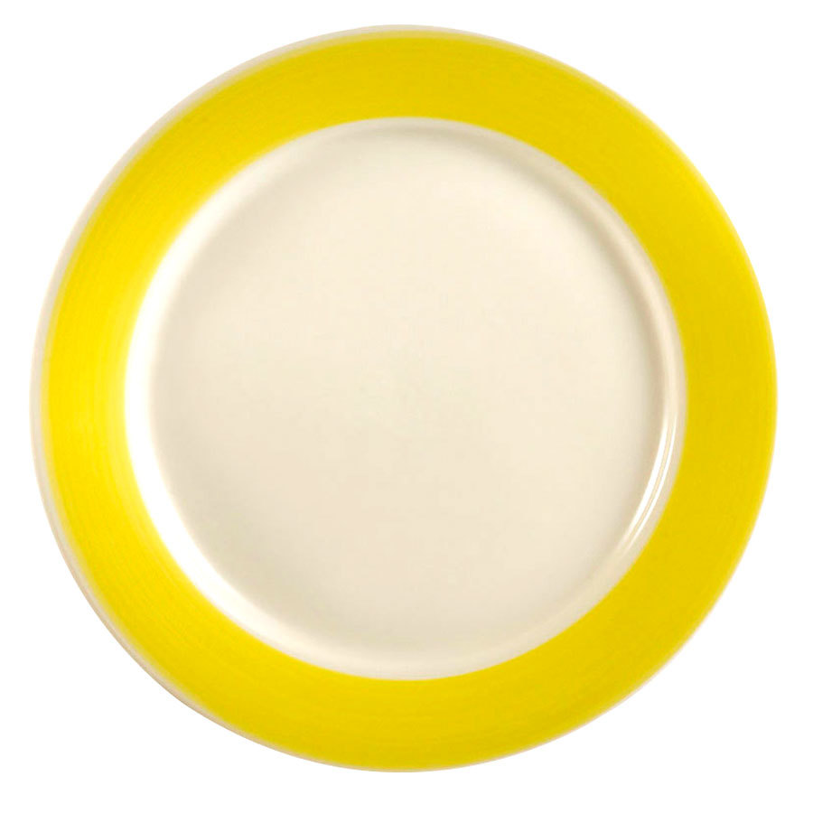"CAC R-16 YWL Rainbow 10 1/2"" Yellow Dinner Plate - 12/Case"