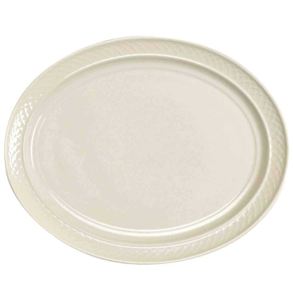 "Homer Laughlin 3527000 Gothic 11 1/2"" x 8 3/8"" Ivory (American White) Undecorated Oval China Platter - 12/Case"