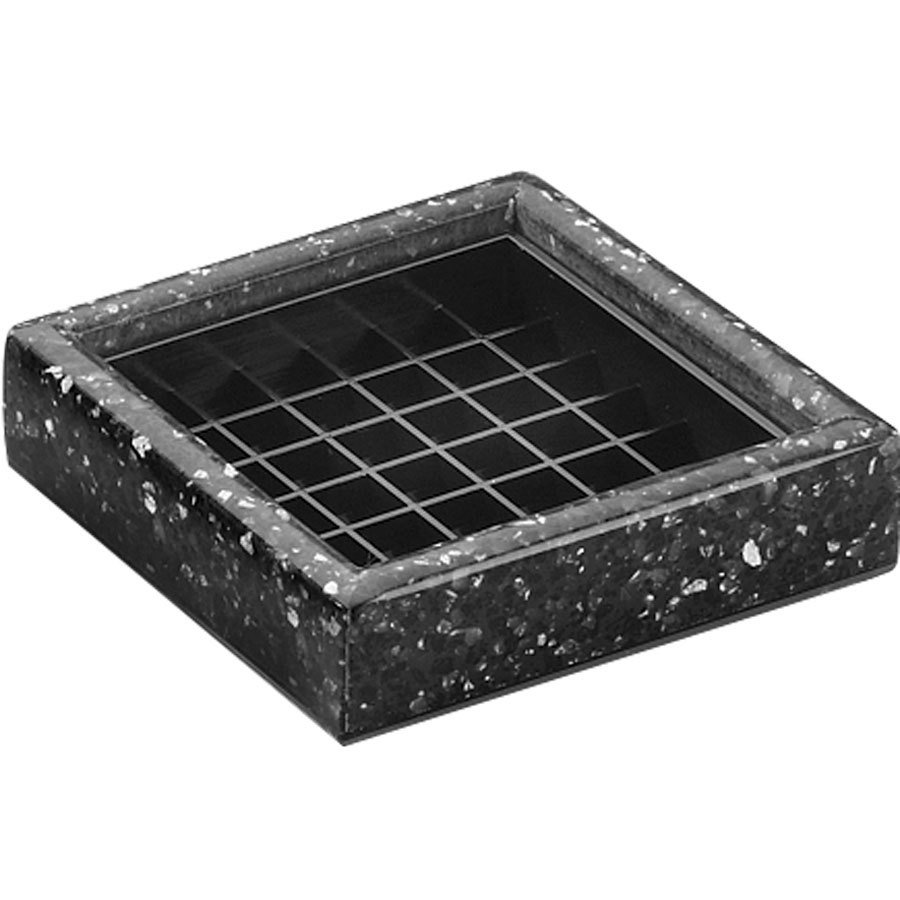 "Cal-Mil 330-4-31 4"" Black Ice Square Drip Tray"