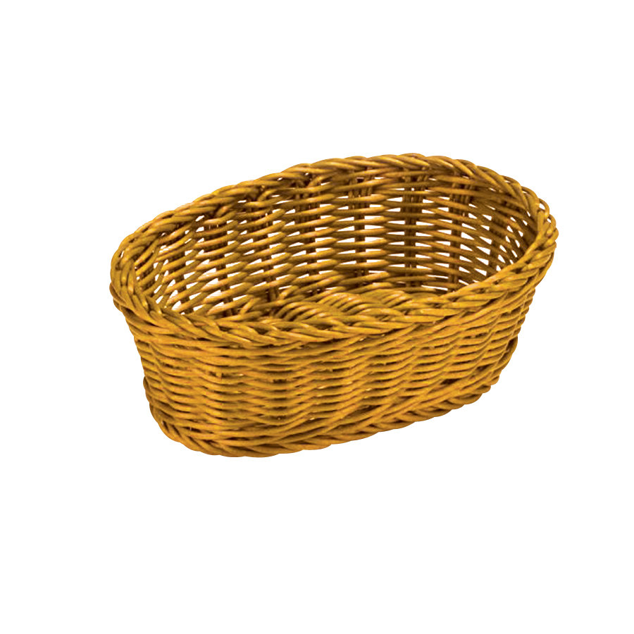 "Yellow Tablecraft Oval Rattan Basket 9 1/4"" X 6 1/4"" X 3 1"