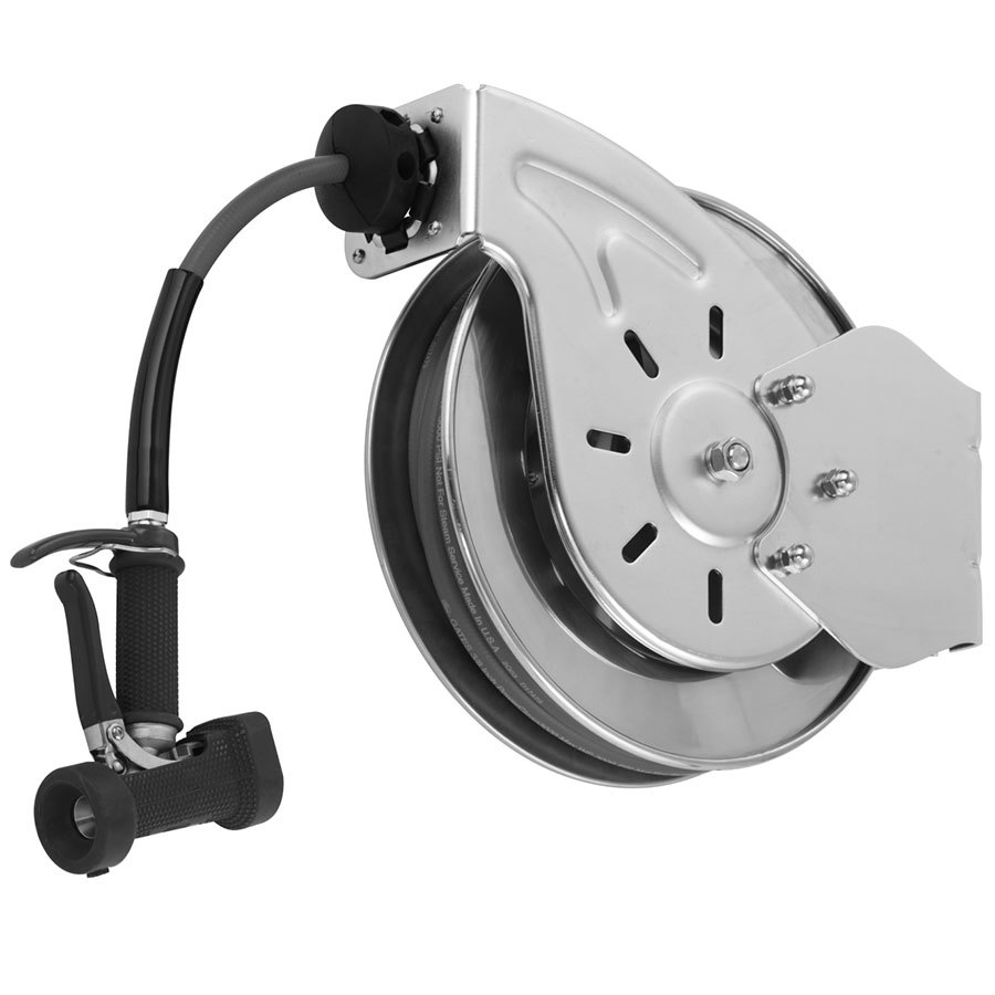 T&S B-7242-05 50' Open Epoxy Coated Steel Hose Reel with Front Trigger Water Gun