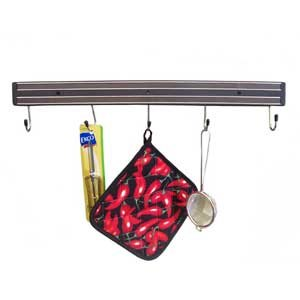 18 inch Black Magnetic Knife Rack with Hooks