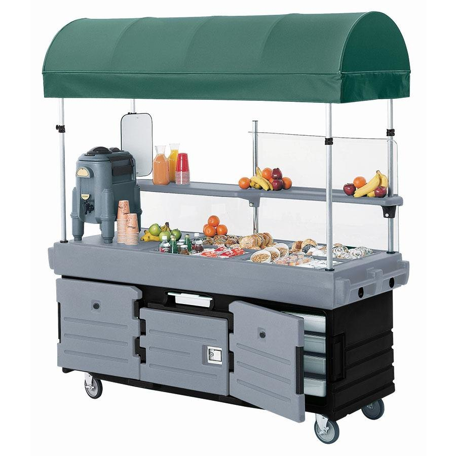 Cambro CamKiosk KVC856C426 Black Base with Granite Gray Door Vending Cart with 6 Pan Wells and Canopy